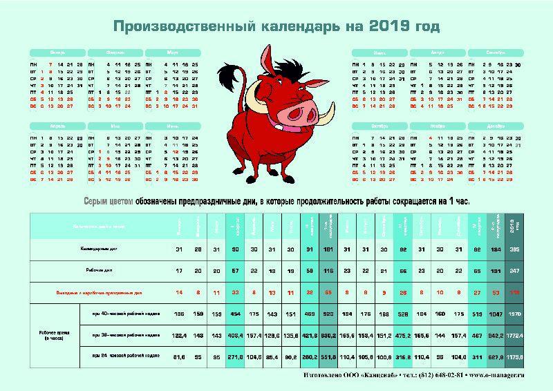 Производственный календарь 2020 часы