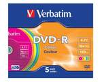 Диски Verbatim DVD-R 4,7 Гб 16*Slim/5 43557 Color