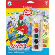 Набор для раскрашивания EK Artberry/Flower coloring set (краски акварель 6цв + 2контурных шаблона)