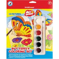 Набор для раскрашивания EK Artberry/Butterfly coloring set (краски акварель 6цв + 2контурных шаблона)
