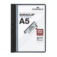 Папка с клипом Durable DuraClip plus до 30л, белая, А5