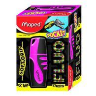 Текстовыделитель MAPED FLUO PEP'S POCKET SOFT, 1-5мм, устойчивые к солнечному свету чернила, розовый
