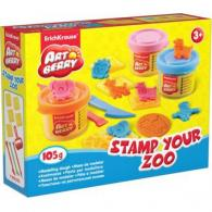 Пластилин Erich Krause Stamp Your Zoo, 3 банки*35гр