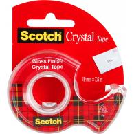Лента клейкая Scotch Crystal, 19 мм*7,5 м, прозрачная, на мини-диспенсере